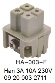 HA-003-F-H3A Han 3A 10A 230V 09 20 003 2711 OUKERUI-SMICO-Harting-Heavy-duty-connector