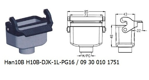 Han 10B H10B-DJK-1L-PG16 09 30 010 1751 Cable to cable coupler 1lever OUKERUI Harting ILME Heavy duty connector.jpg