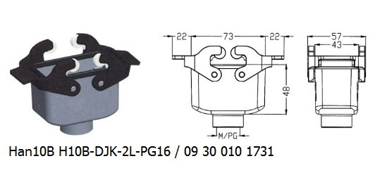 Han 10B H10B-DJK-2L-PG16 09 30 010 1731 Hood Cable to cable with levers OUKERUI Harting ILME Heavy duty connector.jpg