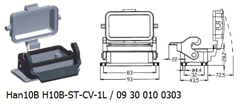 Han 10B H10B-ST-CV-1L 09 30 010 0303 Bulkhead panel mounting 1lever with cover OUKERUI Harting ILME Heavy duty connector.jpg