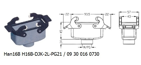 Han 16B H16B-DJK-2L-PG21 09 30 016 0730 Hood Cable to cable with levers OUKERUI Harting ILME Heavy duty connector.jpg