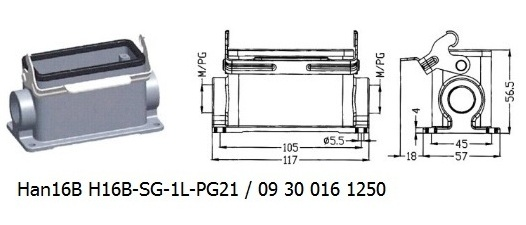 Han 16B H16B-SG-1L-PG21 09 30 016 1250 Surface mounting housing 1lever OUKERUI Harting ILME Heavy duty connector.jpg