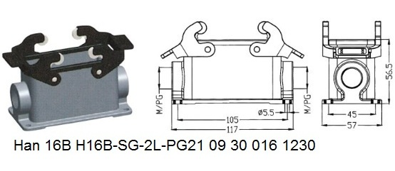 Han 16B H16B-SG-2L-PG21 09 30 016 1230 Surface mounting housing 2lever OUKERUI Harting ILME Heavy duty connector.jpg