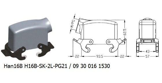 Han 16B H16B-SK-2L-PG21 09 30 016 1530 hood side entry with 2levers OUKERUI Harting ILME Heavy duty connector.jpg