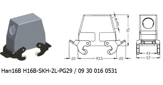 Han 16B H16B-SKH-2L-PG29 09 30 016 0531 hood side entry with 2levers OUKERUI Harting ILME Heavy duty connector.jpg