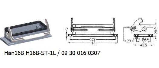 Han 16B H16B-ST-1L 09 30 016 0307 Bulkhead panel mounting 1lever OUKERUI Harting ILME Heavy duty connector.jpg