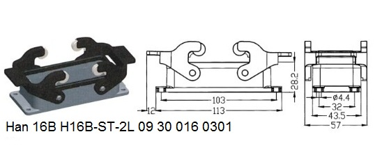 Han 16B H16B-ST-2L 09 30 016 0301 Bulkhead panel mounting 2lever OUKERUI Harting ILME Heavy duty connector.jpg