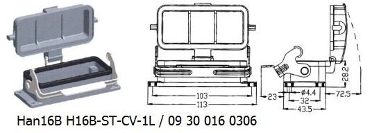 Han 16B H16B-ST-CV-1L 09 30 016 0306 Bulkhead panel mounting 1lever with cover OUKERUI Harting ILME Heavy duty connector.jpg