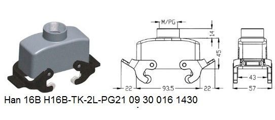 Han 16B H16B-TK-2L-PG21 09 30 016 1430 hood top entry with levers OUKERUI Harting ILME Heavy duty connector.jpg