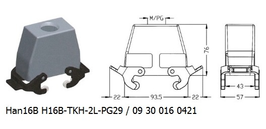 Han 16B H16B-TKH-2L-PG29 09 30 016 0421 hood top entry with levers OUKERUI Harting ILME Heavy duty connector.jpg