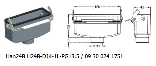 Han 24B H24B-DJK-1L-PG13.5 09 30 024 1751 Cable to cable coupler 1lever OUKERUI Harting ILME Heavy duty connector.jpg