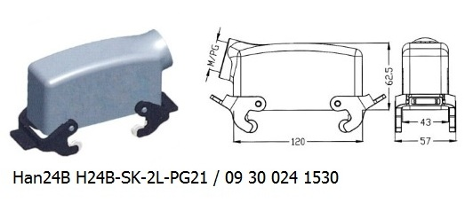 Han 24B H24B-SK-2L-PG21 09 30 024 1530 hood side entry with 2levers OUKERUI Harting ILME Heavy duty connector.jpg