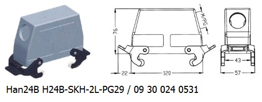 Han 24B H24B-SKH-2L-PG29 09 30 024 0531 hood side entry with 2levers OUKERUI Harting ILME Heavy duty connector.jpg