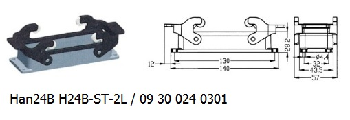 Han 24B H24B-ST-2L 09 30 024 0301 Bulkhead panel mounting 2lever OUKERUI Harting ILME Heavy duty connector.jpg