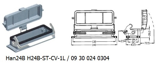 Han 24B H24B-ST-CV-1L 09 30 024 0304 Bulkhead panel mounting 1lever with cover OUKERUI Harting ILME Heavy duty connector.jpg