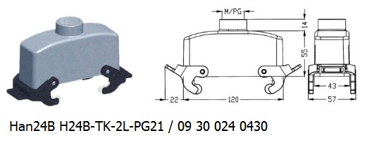 Han 24B H24B-TK-2L-PG21 09 30 024 0430 hood top entry with levers OUKERUI Harting ILME Heavy duty connector.jpg
