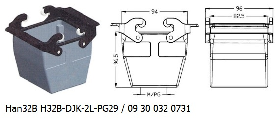 Han 32B H32B-DJK-2L-PG29 09 30 032 0731 Cable to cable coupler 1lever OUKERUI Harting ILME Heavy duty connector.jpg