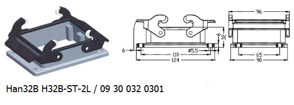 Han 32B H32B-ST-2L 09 30 032 0301 Bulkhead panel mounting 2lever OUKERUI Harting ILME Heavy duty connector.jpg