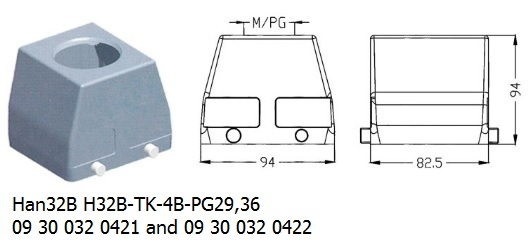 Han 32B H32B-TK-4B-PG29,36 09 30 032 0421 and 09 30 032 0422 hood top entry OUKERUI Harting ILME Heavy duty connector.jpg