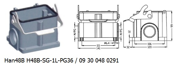 Han 48B H48B-SG-1L-PG36 09 30 048 0291 Surface mounting housing 1lever OUKERUI Harting ILME Heavy duty connector.jpg