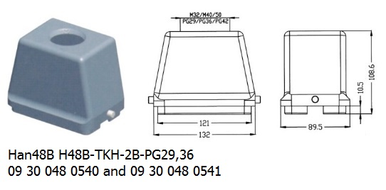 Han 48B H48B-TKH-2B-PG29,36 09 30 048 0540 and 09 30 048 0541 hood top entry OUKERUI Harting ILME Heavy duty connector.jpg