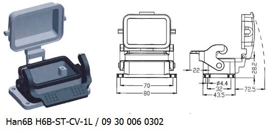 Han 6B H6B-ST-CV-1L 09 30 006 0302 Bulkhead panel mounting 1lever with cover OUKERUI Harting ILME Heavy duty connector.jpg